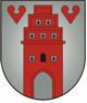 Das Wappen der Stadt Friesoythe: ein rotes Stadttor auf einem grauen Schild. Oben links und rechts neben dem Stadttor zwei rote Herzen.©Stadt Friesoythe