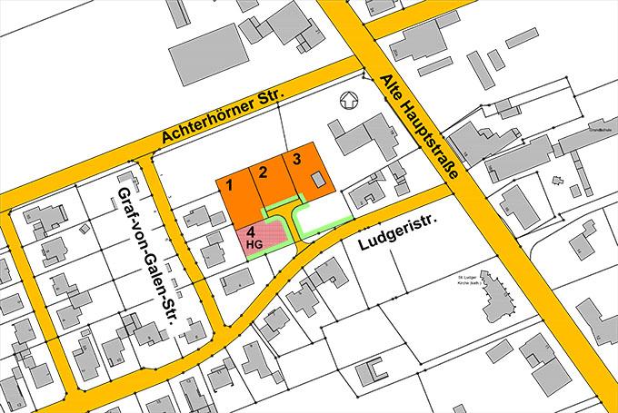 Lageplan der vier zu verkaufenden Grundstücke in Neuscharrel©Stadt Friesoythe